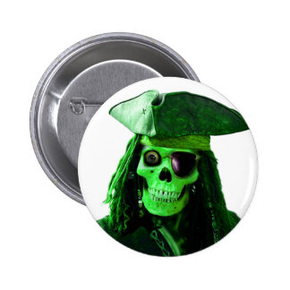 Neon Green Pirate with skully & patch 2 Inch Round Button