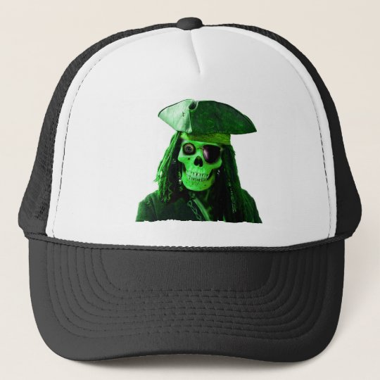 Neon Green Pirate with skully & patch Trucker Hat