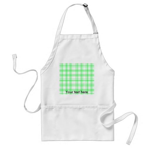Neon green plaid on white background aprons