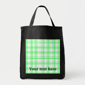 Neon green plaid on white background canvas bag