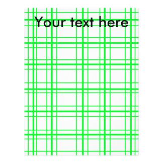 "Neon green plaid on white background 8.5"" x 11"" flyer"