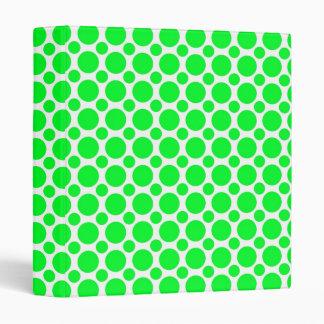Neon Green Polka Dots 3 Ring Binder