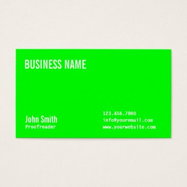 Professional Business Neon Green Proofreading Business Card