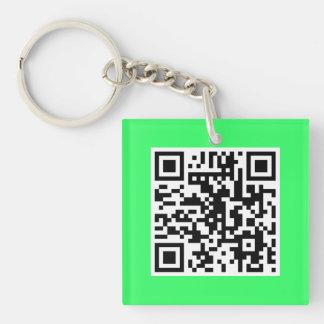 Neon Green QR CODE Custom Key Chain