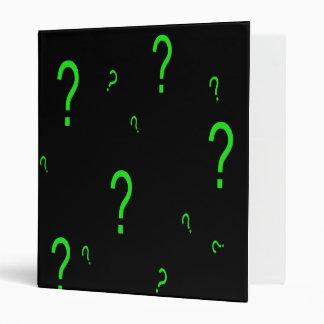 Neon Green Question Mark 3 Ring Binder