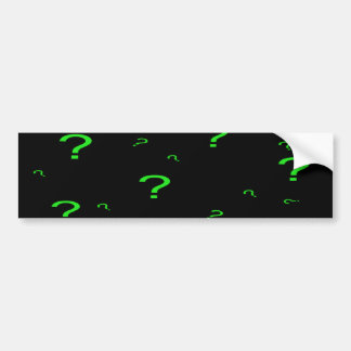 Neon Green Question Mark Car Bumper Sticker