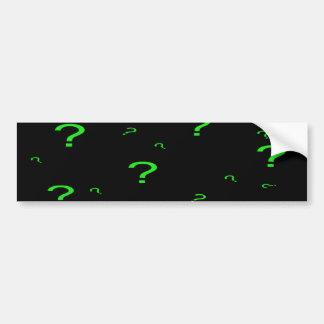 Neon Green Question Mark Bumper Stickers