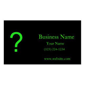 Neon Green Question Mark Business Card