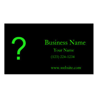Neon Green Question Mark Business Card Templates