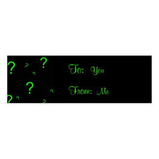 Neon Green Question Mark Business Cards