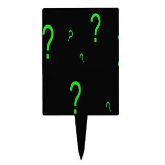 Neon Green Question Mark Cake Topper
