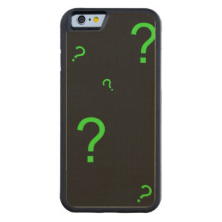 Neon Green Question Mark Carved Maple iPhone 6 Bumper Case