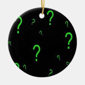Neon Green Question Mark Ceramic Ornament