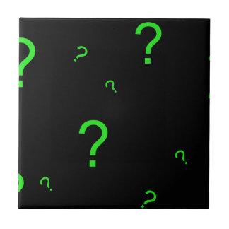 Neon Green Question Mark Ceramic Tile