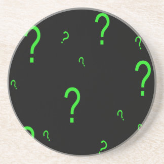 Neon Green Question Mark Coasters