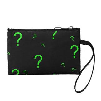 Neon Green Question Mark Coin Purse