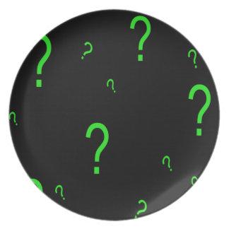 Neon Green Question Mark Dinner Plate