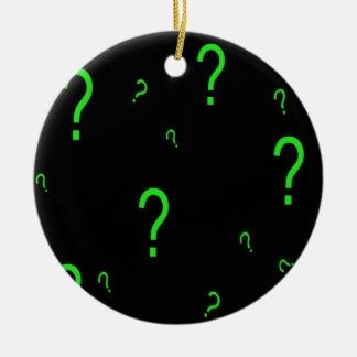 Neon Green Question Mark Double-Sided Ceramic Round Christmas Ornament