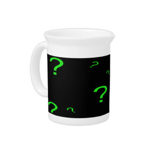 Neon Green Question Mark Drink Pitchers