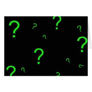 Neon Green Question Mark Greeting Cards