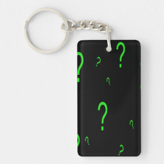 Neon Green Question Mark Single-Sided Rectangular Acrylic Keychain