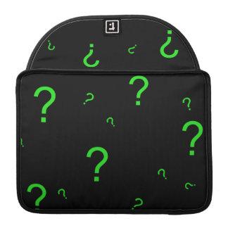 Neon Green Question Mark MacBook Pro Sleeves