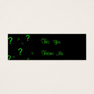 Neon Green Question Mark Mini Business Card
