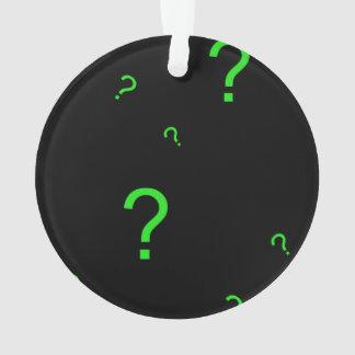 Neon Green Question Mark Ornament