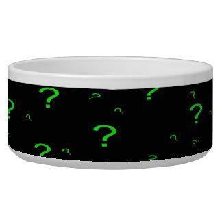 Neon Green Question Mark Pet Food Bowl