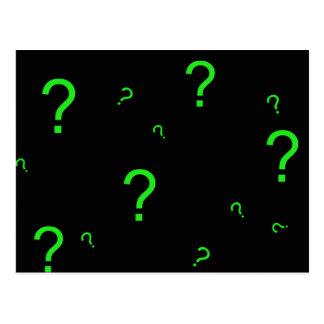 Neon Green Question Mark Postcard