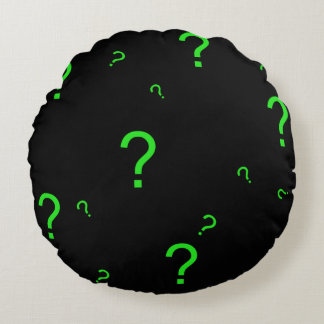 Neon Green Question Mark Round Pillow