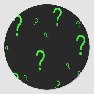 Neon Green Question Mark Round Stickers