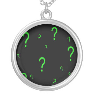 Neon Green Question Mark Silver Plated Necklace