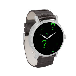 Neon Green Question Mark Wristwatches