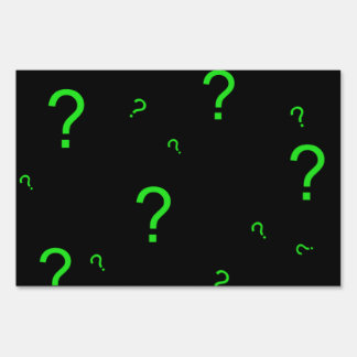 Neon Green Question Mark Yard Signs