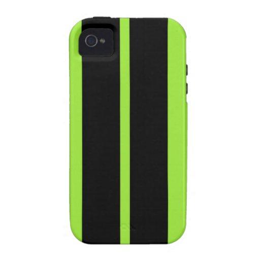 NEON GREEN RACING STRIPE CAR HOOD VIBE iPhone 4 COVERS