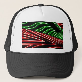 Neon green red zebra trucker hat