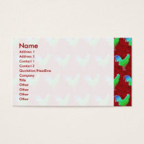 Neon green roosters pattern business card