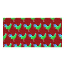 Neon green roosters pattern card