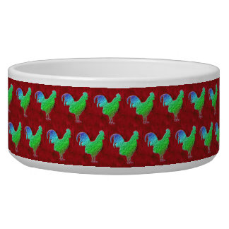 Neon green roosters pattern pet food bowl
