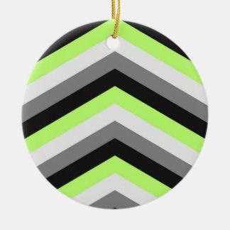 Neon Green Shades Large Chevron ZigZag Pattern Christmas Tree Ornaments