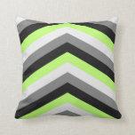 Neon Green Shades Large Chevron ZigZag Pattern Throw Pillows