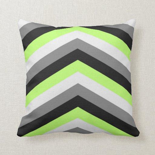 Neon Green Shades Large Chevron ZigZag Pattern Throw Pillow Zazzle