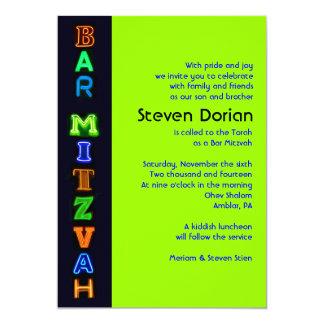 NEON GREEN SIGNS Bar Bat Mitzvah Invitation