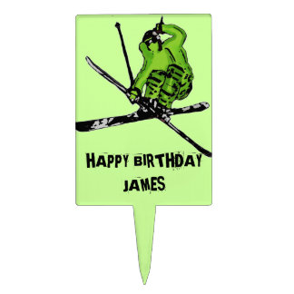 Neon green skier customizable cake toppers