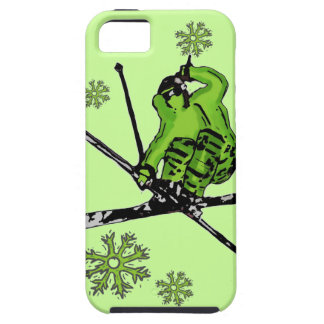 Neon green skier theme iphone case