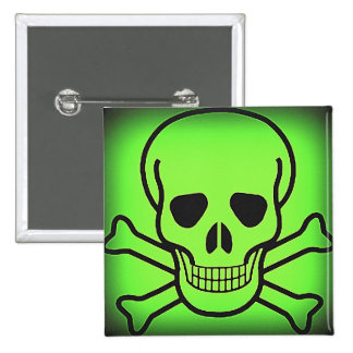 NEON GREEN SKULL AND CROSSBONES PRINT BUTTON