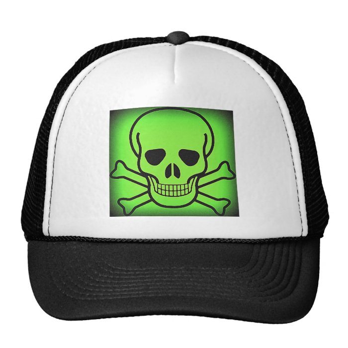 NEON GREEN SKULL AND CROSSBONES PRINT TRUCKER HAT