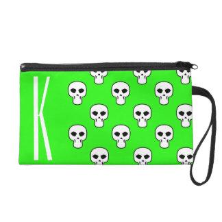 Neon Green Skulls Pattern Wristlet Purses