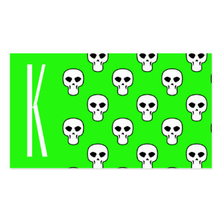 Neon Green Skulls Pattern Business Card